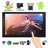 Upgraded 7 Inch Touch Screen Android 7.1 QuadCore CPU Double Din Car Stereo in Dash GPS Navigation Surport BT WiFi Car Radio Audio Vehicle Headunit with Free Rear Camera and Car Tuning Tools