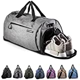 Fitgriff® Sac de Sport avec Compartiment Chaussures - Femme et Homme - Sac a Main pour Voyage, Weekend, Gym, Fitness, Musculation, Outdoor, Workout - Duffel Bag (Grey, Small)
