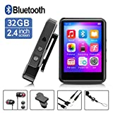 MP3Player, MP3 Player with Bluetooth, 32GB Portable Music Player with FM Radio/Recorder, HiFi Lossless Sound Quality, 2.4Inch Touch Screen Mini MP3 Player for Running, Expandable 128GB TF Card, Black