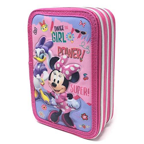 Astuccio Scuola 3D Minnie Mouse Paperina Disney 3 Zip/Cerniere Porta Pastelli, Pennarelli Giotto CM....