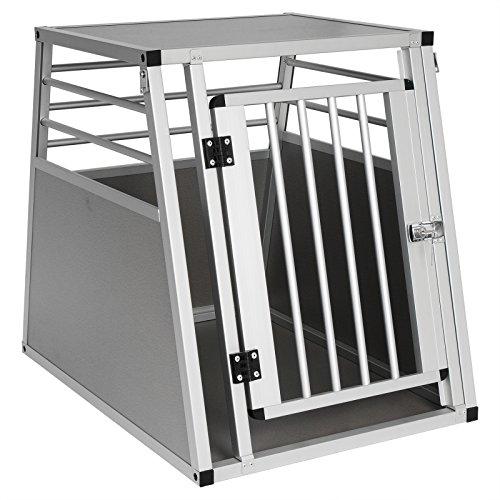 EUGAD 1 Aluminium Cage de Transport avec 1 Porte Cage de Chien en Aluminium 55x65x75cm,Argent 0060HT