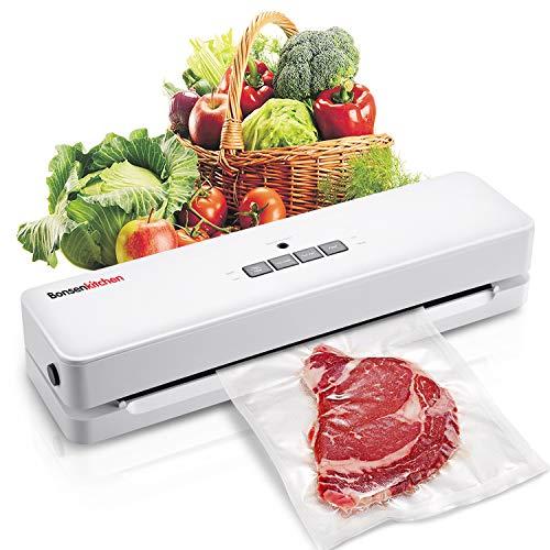 Macchina Sottovuoto per Alimenti Bonsenkitchen, Sigillatore sottovuoto per alimenti freschi sia secchi che umidi, bianco VS3803