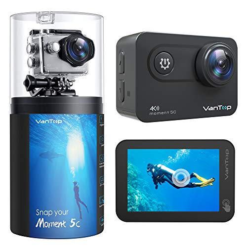 VanTop Action Cam 4K Native con Touch Screen, Wifi 60FPS 20MP, EIS Aggiornato, 2 Batterie Ricaricabili e Accessori Compatibili con Gopro