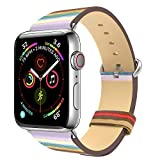 MoKo Band Compatible with Apple Watch 38mm 40mm, Premium Genuine Leather Replacement Strap + Watch Lugs Fit iWatch 38mm 40mm Series 5/4/3/2/1, Colorful Stripe(Not Fit 42mm 44mm Versions)