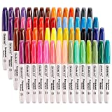 60 Colors Permanent Markers, Fine Point, Assorted Colors, Works on Plastic,Wood,Stone,Metal and Glass for Doodling, Coloring, Marking by Shuttle Art
