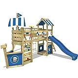 WICKEY Aire de jeux bois StormFlyer avec balançoire et toboggan bleu, Maison enfant exterieur avec bac à sable, mur d'escalade & beaucoup d'accessoires de jeux