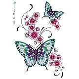 BLOUR Etiqueta engomada del Tatuaje Temporal a Prueba de Agua Color pequeñas Flores Frescas y Tatuaje de Mariposa Grande al por Mayor LC2828