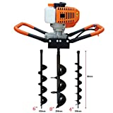 One Man Earth Auger with 52cc, 2 Cycle, Full Crankshaft Engine +3 Bit 4' 6' 8'