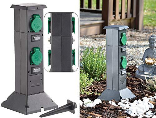 Royal Gardineer Steckdosensäule: 4-fach-Steckdosen-Säule für den Garten, spritzwassergeschützt IP44 (Steckdosensäule aussen)