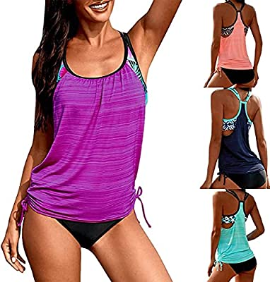 ❤❤❤【Stretchy,breathable,soft smooth fabric】Women's Tankini Swimsuits - Made of soft quick-drying high quality fabric. Lightweight, breathable, elastic and durable, comfortable to wear. ❤❤❤【Two Piece Swimsuits】 A casual athletic tankini fits both in a...