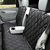 4Knines Dog Seat Cover Without Hammock for Fold Down Rear Bench Seat 60/40 Split and Middle Seat Belt Capable - Heavy Duty - Black Regular - Fits Most Cars, SUVs, and Small Trucks - USA Based Company