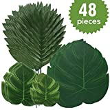 GLOBAL GOLDEN 48 Pcs 4 Genres Feuilles De Palmier Artificielle avec Monstera...