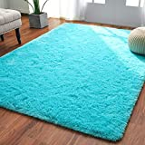 Softlife Fluffy Bedroom Area Rugs 4 x 5.3 Feet Shaggy Nursery Rug for Girls Baby Kids Dorm Room Modern Home Decorative Plush Indoor Floor Carpet, Turquoise Blue