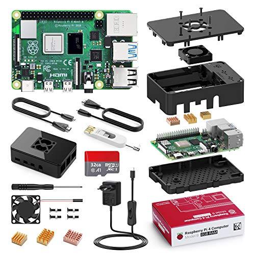 Bqeel Raspberry Pi 4 Model B 【4GB RAM+32GB MicroSD 】 Versión Actualizada de Raspberry pi 3b+ con 2 Cable HDMI,BT 5.0,Doble WiFi, 5.1V 3A Adaptador con Interruptor