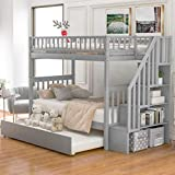Harper & Bright Designs Bunk Beds Twin Over Twin Size, Solid Wood Bunk Bed with Trundle for Kids and Toddler (Grey Bunk Beds with Trundle)