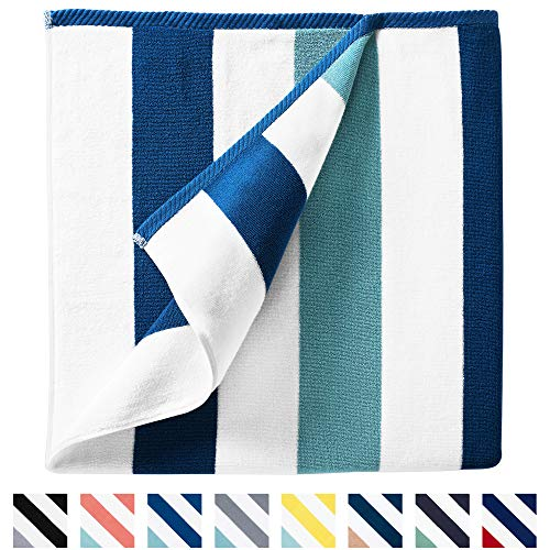 """Cabana Beach Towel by Laguna Beach Textile Co, Oversized Marine Blue & Sea Glass Green Summer Sunbathing and Pool Side Lounge Comfort, Plush Cotton Softness with Colorful Stripes, Large 70"""" x 35"""""""