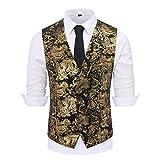 Gilet Hommes Mariage Classique Paisley Floral Jacquard Gilet Soirée Slim Fit Gilet de Costume pour Homme, Noir Or, XS