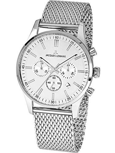 Jacques Lemans Herren-Uhren Analog Quarz One Size Silber 32016853
