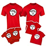 Onesie and Toddler Thing 1,2,3,4,5,6,7,8,9,10 Funny T-Shirts (ADT Large, Thing 1) Red