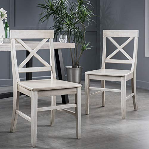 Christopher Knight Home Roshan Farmhouse Acacia Wood Dining Chairs, Light Grey Wash