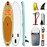 DAMA 9'6'x30'x6' Inflatable Stand Up Paddle Board, Yoga Board, Camera Seat, Floating Paddle, Double Action Hand Pump, Board Carrier, Waterproof Bag, Drop Stitch, Traveling Board for Surfing