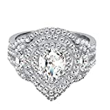 Sterling Silver Cubic Zirconia Dainty Two Piece Pear and Marquise Shaped Halo Engagement Ring CZ...