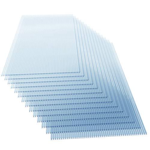 Deuba Set de 14 Placas de policarbonato 60,5x121cm 10,25m² Láminas de doble cara Planchas Transparentes