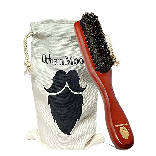 UrbanMooch Premium 100% Boar Bristle Beard Brush with Grass Tree Wooden Handle, Straightens and Promotes Beard Growth, Works with Beard Oils and Balms, for Healthy & Stylish Beard