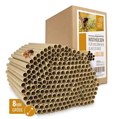 wildtier herz | 200 Nisthülsen mit Ø 8mm für Wildbienen - 100{9457f4c2289fdbedb470af285f53eefc0594fc8941a58e35680b338fcb680906} ökologische Pappröhrchen für Insektenhotel, Niströhren & Bruthülsen als Füllmaterial für Bienenhotel