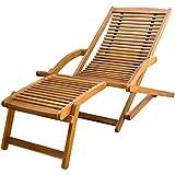 vidaXL Chaise avec Repose-Pieds en Bois d'Acacia Chaise Longue de...