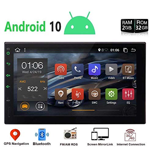 EinCar Android 10.0 Car Radio Player 2 Din Android Head Unit with Bluetooth 7 Touchscreen Double Din Car Stereo Video Player GPS Navigation System Support WiFi, Mirror Link,OBD2,USB, SD,SWC
