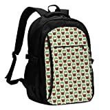 XCNGG Mochila USB con múltiples Bolsillos, Mochila Informal, Mochila Escolar Potted Hedgehog Cactus Travel Laptop Backpack with USB Charging Port Multifunction Work School Bag