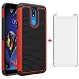 Phone Case for LG K40/K12 Plus/X4 2019/Solo LTE/Xpression Plus 2/Harmony 3 with Tempered Glass Screen Protector Cover and Slim Rugged Silicone Accessories LGK40 K 40 40K L423DL LMX420 Cases Black Red