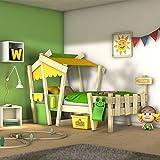 WICKEY Lit enfant CrAzY Candy Lit de jeux 90x200 pour enfant avec sommier à lattes, jaune-vert pomme