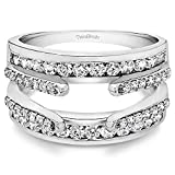 TwoBirch 1.01 Ct. Combination Cathedral and Classic Ring Guard in Sterling Silver with Cubic...