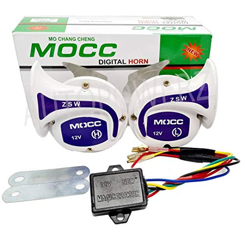AUTOPOWERZ Mocc 18 in 1 Digital Tone Magic Horn for All Bikes, Scooty and Cars (White), Set of 2