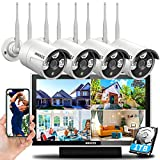 【Dual Antennas for WiFi Enhanced】Wireless Home Security Camera Systems Outdoor With 10inch Screen Monitor,Wireless Complete Video Surveillance Camera System with Hard Drive,4pcs Wireless Cameras