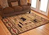 Rustic Lodge Brown 5x7 Area Rug, 5'3x7'3