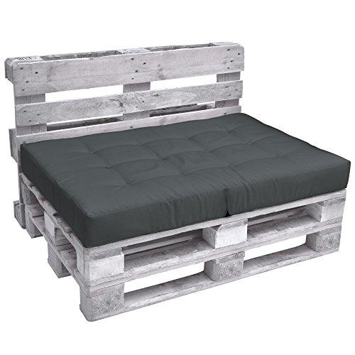 Beautissu Cuscino per Seduta di Divano Pallet Eco Elements 120x80x15cm - per divanetti con bancali di Legno - Grigio