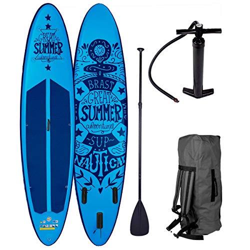 BRAST Stand up Paddle Gonflable Adulte Rigide Summer Bleu 10'6 20psi 120kg Drop Stitch 15cm epaisseur kit Complet – Planche Gonflable Sup 320x76x15cm