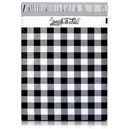 Pack It Chic - 10X13 (100 Pack) Gingham Plaid Poly Mailer Envelope Plastic Custom Mailing & Shipping Bags - Self Seal