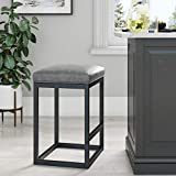 Nathan James 22101 Nelson Bar Stool with Leather Cushion and Metal Base, 24', Gray/Black