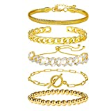 5 Pcs Chain Link Bracelet For Women,14K Gold Plated Dainty Adjustable Cuban Paperclip Bead Bracelets Bangle For Women Girls Jewelry Gifts