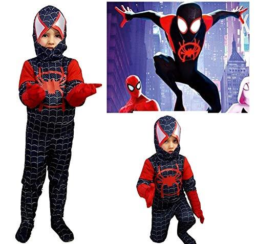 PICCOLI MONELLI Costume Spiderman Nero Bambino Un Nuovo Universo 4 -6 Anni Vestito Uomo Ragno Bimbo di Carnevale Nuovo e ultimo Modello Film Homecoming 2019