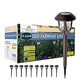 10 Pack Solar Lights Outdoor Decorative, Solar Pathway Lights Outdoor, Solar Powered Garden Yard Lights for Walkway Sidewalk Driveway. (Brown, Warm White)