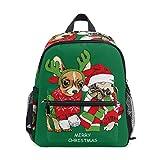 Mochila para niños y niñas Mini Mochila Bolsa de Viaje con Clip para el Pecho Lindo Animal Perro Feliz Navidad