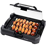 Secura Smokeless Indoor Grill 1800-Watt Electric Griddle with Reversible 2 in 1 Cast Iron Plate, Glass Lid, Extra Large Drip Tray (Dishwasher Safe)