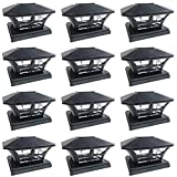 iGlow 12 Pack Black Outdoor Garden 6 x 6 Solar SMD LED Post Deck Cap Square Fence Light Landscape Lamp PVC Vinyl Wood