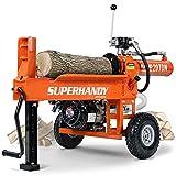 SuperHandy Log Splitter Portable Horizontal Full Beam with Steel Wedge for Fire Wood Splitting Forestry Harvesting (Orange)