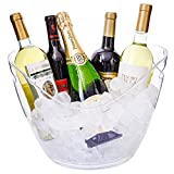 Ice Bucket Clear Acrylic 8 Liter Plastic Tub For Drinks and Parties, Food Grade, Holds 5 Full-Sized...